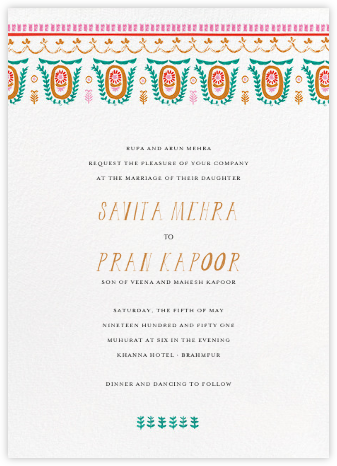 Miss Anupama (Invitation) - Mr. Boddington's Studio - Indian Wedding Cards