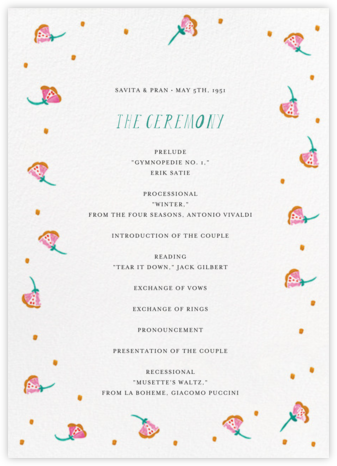 Miss Anupama (Program) - Mr. Boddington's Studio - Wedding menus and programs - available in paper
