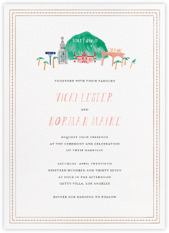 Mr. Hollywood (Invitation) - Mr. Boddington's Studio - Destination Wedding Invitations