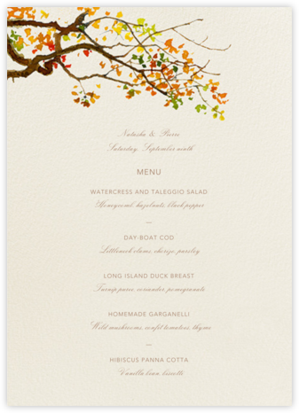Autumn Boughs (Menu) - Felix Doolittle - Wedding menus and programs - available in paper