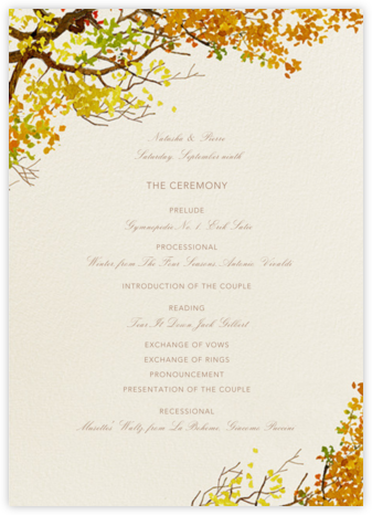 Autumn Bough (Program) - Felix Doolittle - Wedding menus and programs - available in paper