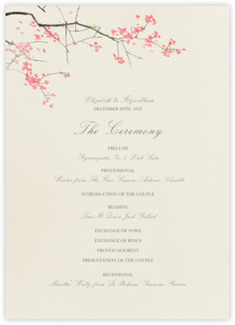 Japanese Cherry (Program) - Felix Doolittle - Wedding menus and programs - available in paper