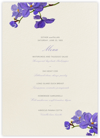 Moth Orchid (Menu) - Felix Doolittle - Wedding menus and programs - available in paper