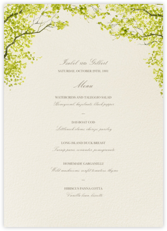 Spring Orchard (Menu) - Felix Doolittle - Wedding menus and programs - available in paper