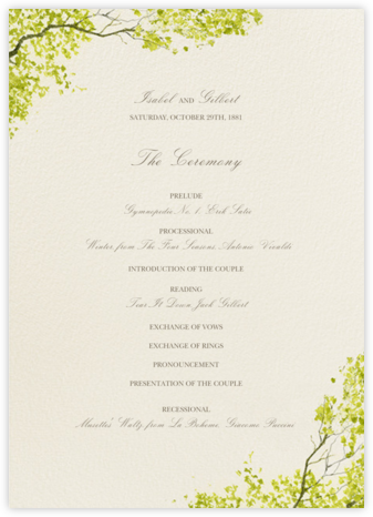Spring Orchard (Program) - Felix Doolittle - Wedding menus and programs - available in paper