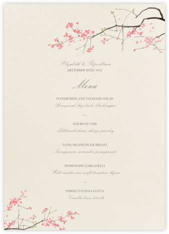 Japanese Cherry (Menu) - Felix Doolittle - Wedding menus and programs - available in paper
