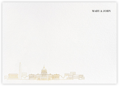 D.C. Skyline View (Stationery) - White/Gold | null