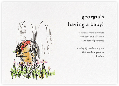Garden Shower - Ivory - Paddington Bear - Woodland Baby Shower Invitations