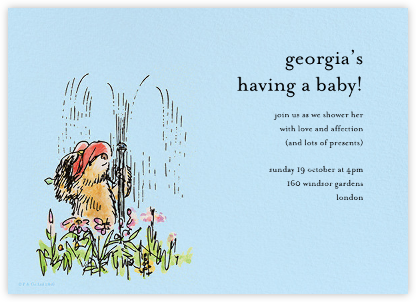 Garden Shower - Blue - Paddington Bear - Baby Shower Invitations