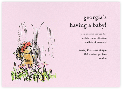 Garden Shower - Pink - Paddington Bear - Woodland Baby Shower Invitations