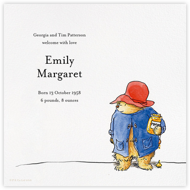 Moreish Marmalade - Paddington Bear - Birth Announcements