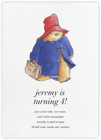 Paddington Steps Out (Invitation) - Paddington Bear - Online Kids' Birthday Invitations