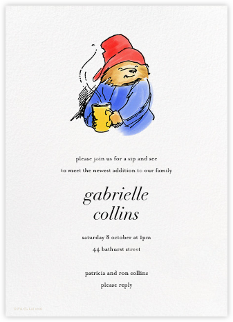 Time for Tea - Paddington Bear - Baby shower invitations