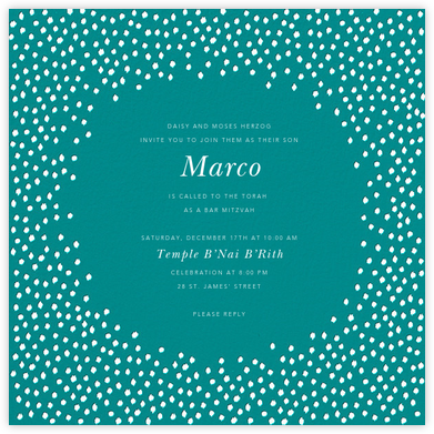 Ikat Dot - Teal/Ivory - Oscar de la Renta - Bat and Bar Mitzvah Invitations