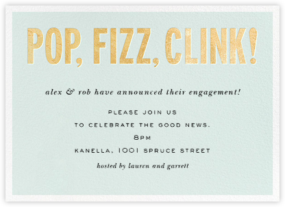 Pop Fizz Clink! (Horizontal) - kate spade new york - Kate Spade invitations, save the dates, and cards
