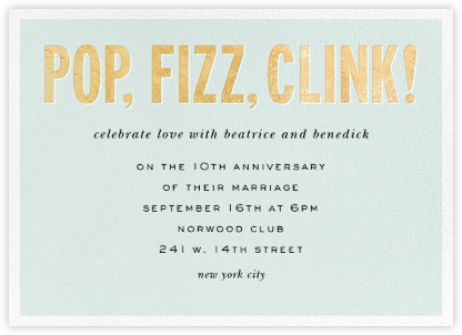 Pop Fizz Clink! (Horizontal) - kate spade new york - Celebration invitations