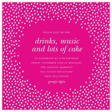 Ikat Dot - Magenta - Oscar de la Renta - Adult Birthday Invitations