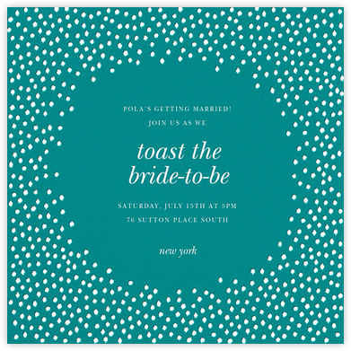Ikat Dot - Teal/Ivory - Oscar de la Renta - Bridal shower invitations