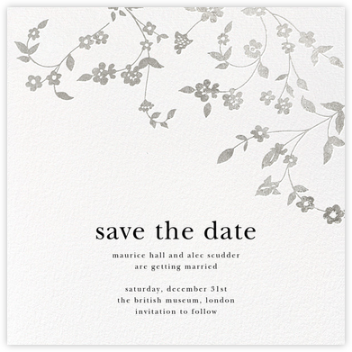 Floral Trellis (Save the Date) - Silver - Oscar de la Renta - Save the dates