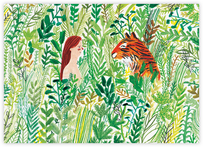 Tiger Meeting (Lizzy Stewart) - Red Cap Cards - Online Greeting Cards