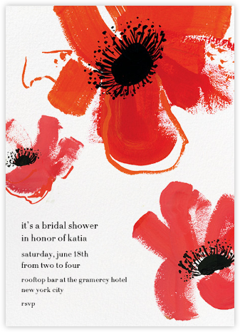 Poppies - Red - kate spade new york - Bridal shower invitations