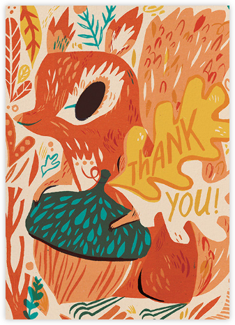 Squirrel Thanks (Meg Hunt) - Red Cap Cards - Online Thank You Cards