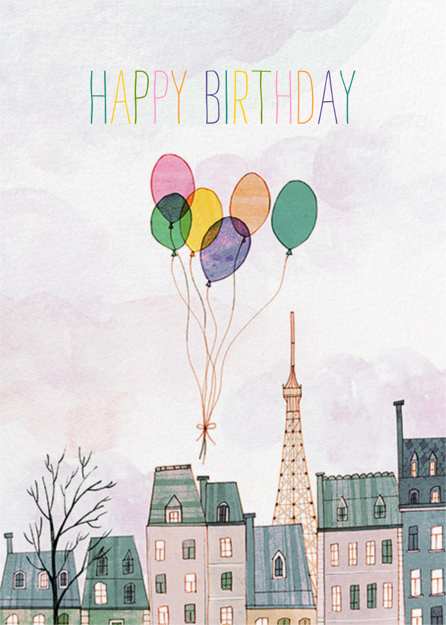 Paris Balloons (Josie Portillo) - Red Cap Cards - Online greeting cards