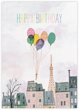 Paris Balloons (Josie Portillo) - Red Cap Cards - Birthday