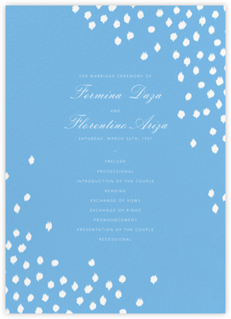 Ikat Dot (Program) - Light Blue - Oscar de la Renta - Wedding menus and programs - available in paper