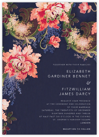 Rose Floral Ikat (Invitation) - Navy - Oscar de la Renta - Wedding Invitations