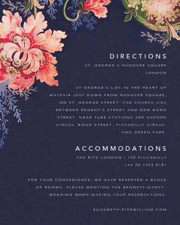 Rose Floral Ikat (Invitation) - Navy - Oscar de la Renta - All - insert front