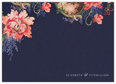 Rose Floral Ikat (Stationery) - Navy