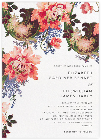 Rose Floral Ikat (Invitation) - White - Oscar de la Renta - Wedding invitations