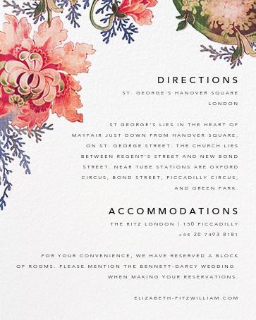 Rose Floral Ikat (Invitation) - White - Oscar de la Renta - All - insert front