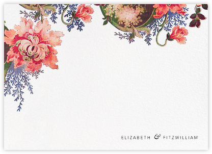 Rose Floral Ikat (Stationery) - White - Oscar de la Renta - Personalized Stationery