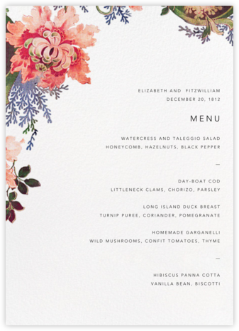 Rose Floral Ikat (Menu) - White - Oscar de la Renta - Wedding menus and programs - available in paper