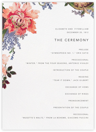 Rose Floral Ikat (Program) - White - Oscar de la Renta - Wedding menus and programs - available in paper