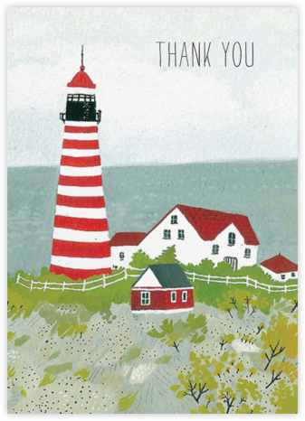 Maine Lighthouse (Becca Stadtlander) - Red Cap Cards - Online Thank You Cards