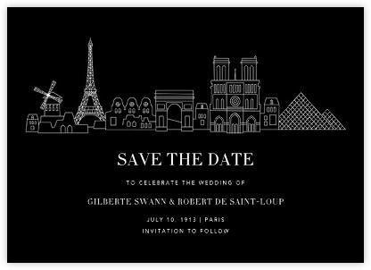 Paris Skyline View (Save the Date) - Black/White | null