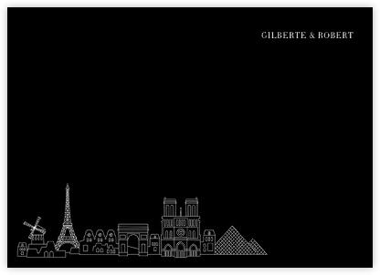 Paris Skyline View (Stationery) - Black/White | null