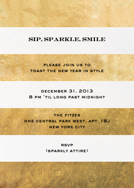 Evergreen Stripes - Gold/White - kate spade new york - New Year's Eve