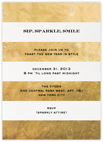 Evergreen Stripes - Gold/White - kate spade new york - New Year's Eve Invitations
