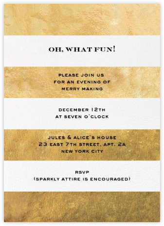 Evergreen Stripes - Gold/White - kate spade new york - Holiday party invitations