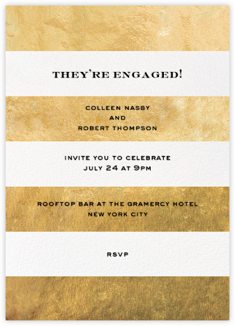 Evergreen Stripes - Gold/White - kate spade new york - Engagement party invitations