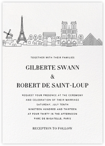Paris Skyline View (Invitation) - White/Black | null
