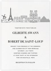 Paris Skyline View (Invitation) - White/Black