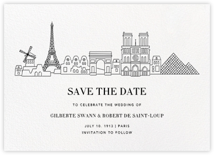 Paris Skyline View (Save the Date) - White/Black | null
