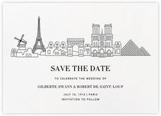 Paris Skyline View (Save the Date) - White/Black