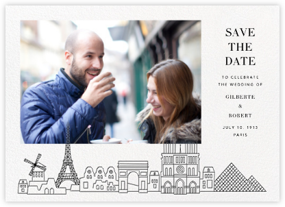 Paris Skyline View (Photo Save the Date) - White/Black - Paperless Post - Destination