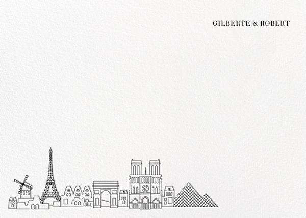 Paris Skyline View (Stationery) - White/Black - Paperless Post - Stationery